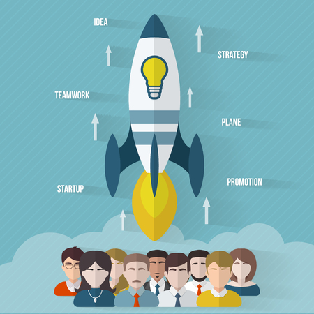 workteam: Startup concept with rocket and people. Flat style vector illustration.