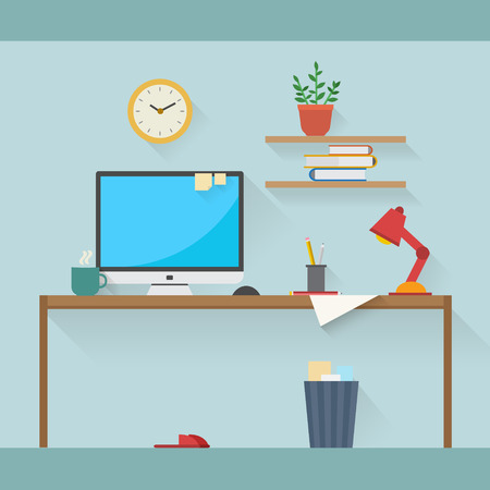 homes: Home workplace flat vector design. Workspace for freelancer and home work. Illustration