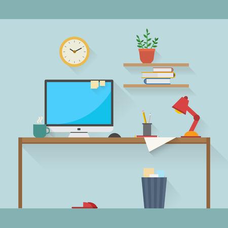 espacio de trabajo: Inicio del lugar de trabajo de dise�o vectorial plana. �rea de trabajo de freelance y trabajo a domicilio.