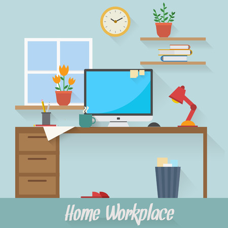 Home workplace flat vector design. Workspace for freelancer and home work. Vectores