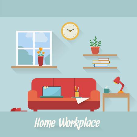 finestra: Casa sul posto di lavoro disegno vettoriale piatta. Area di lavoro per il professionista e il lavoro a casa.