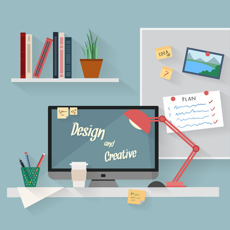 Home workplace flat vector design. Workspace for freelancer and home work. Vettoriali