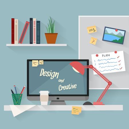 Inicio del lugar de trabajo de diseño vectorial plana. Área de trabajo de freelance y trabajo a domicilio. Foto de archivo - 41713995