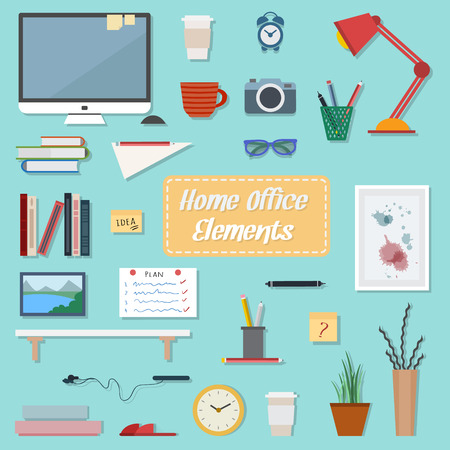display: Home workplace flat vector design. Workspace for freelancer and home work. Illustration