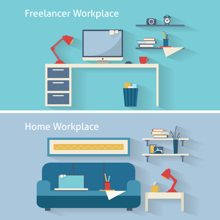 home office interior: Home workplace flat vector design. Workspace for freelancer and home work. Illustration