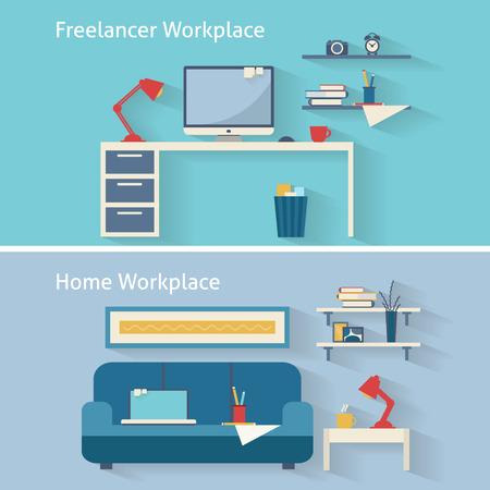 Home workplace flat vector design. Workspace for freelancer and home work. Illustration