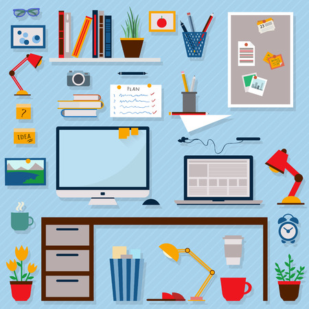 Home workplace flat vector design. Workspace for freelancer and home work. Banco de Imagens - 41713999