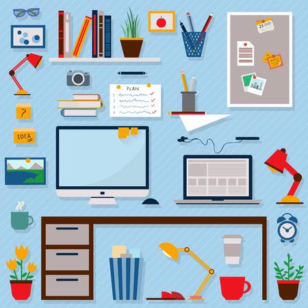 Inicio del lugar de trabajo de diseño vectorial plana. Área de trabajo de freelance y trabajo a domicilio. Foto de archivo - 41713999