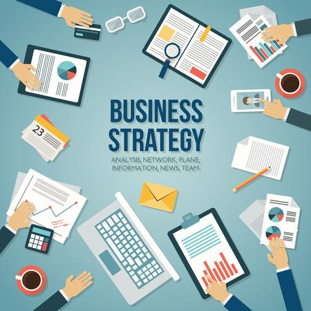 papeles oficina: Ilustración vectorial Diseño plano. Lugar de trabajo de negocios con la taza de café, una tableta digital, teléfono inteligente, documentos y diversos objetos de oficina en la mesa.