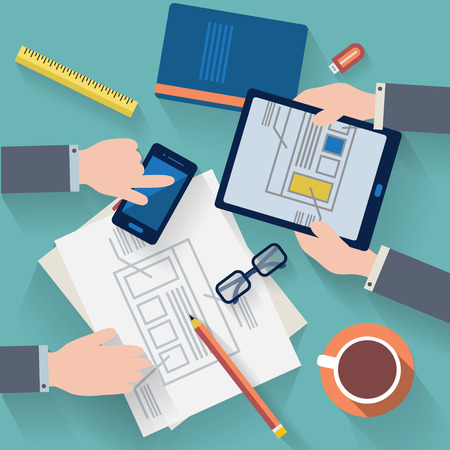 marketing concept: Flat design vector illustration. Business workplace with cup of coffee, digital tablet, smartphone, papers and various office objects on table. Illustration