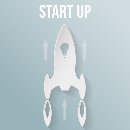 workteam: Startup concept with rocket . Flat style vector illustration.