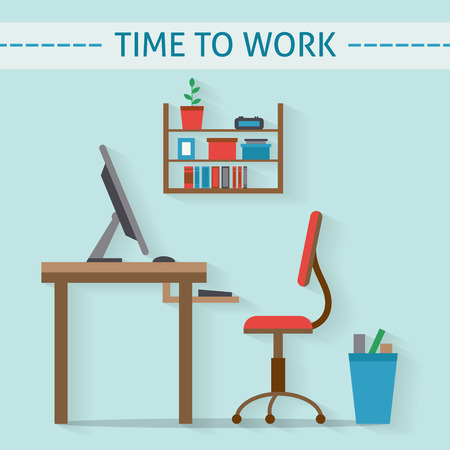 office work: Office workplace flat vector design. Workspace for freelancer and home work.