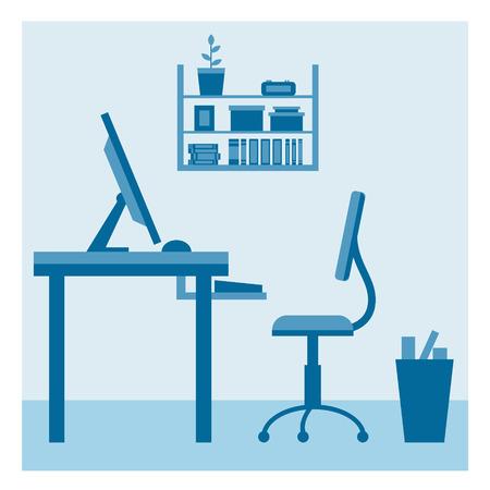 espacio de trabajo: Lugar de trabajo de oficina de dise�o vectorial plana. �rea de trabajo de freelance y trabajo a domicilio.