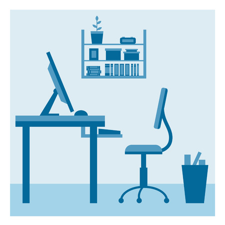work from home: Office workplace flat vector design. Workspace for freelancer and home work.