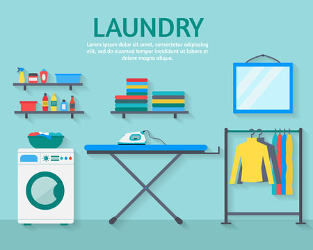 Laundry room with washing machine, ironing board, clothes rack with things, facilities for washing, washing powder and mirror. Flat style vector illustration.  イラスト・ベクター素材