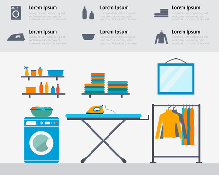 Laundry room with washing machine, ironing board, clothes rack with things, facilities for washing, washing powder and mirror. Flat style vector illustration. Vettoriali