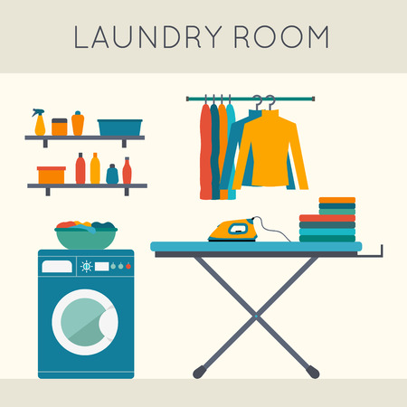 Laundry room with washing machine, ironing board, clothes rack with things, facilities for washing, washing powder and mirror. Flat style vector illustration. Иллюстрация