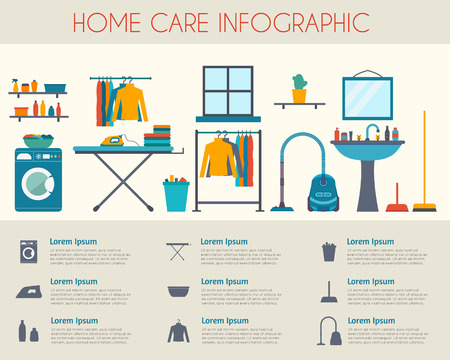 Home care and housekeeping infographic. Room with different housework icons. Flat style vector illustration. Vettoriali