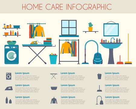 orden y limpieza: Cuidado en el hogar y la infografía de limpieza. Habitación con diferentes iconos de tareas domésticas. Ilustración vectorial de estilo Flat.