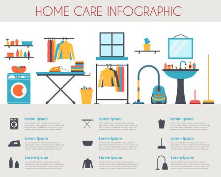 servicio domestico: Cuidado en el hogar y la infografía de limpieza. Habitación con diferentes iconos de tareas domésticas. Ilustración vectorial de estilo Flat.