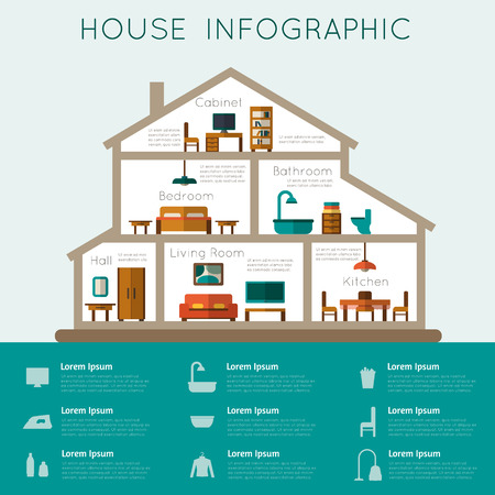 residential structure: House infographic. Rooms with furniture with statistic. Flat style vector illustration.
