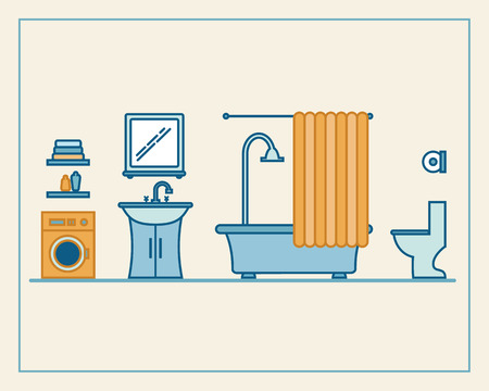 bathroom sink: Bathroom with furniture and long shadows. Flat line style vector illustration.