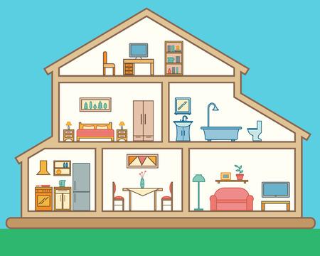 Haus in Schnitt. Detaillierte modernen Haus Interieur. Zimmer mit Möbeln. Flache Linie Stil Vektor-Illustration.