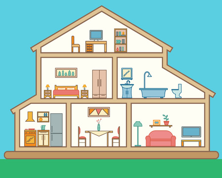 House in cut. Detailed modern house interior. Rooms with furniture.  Flat line style vector illustration.