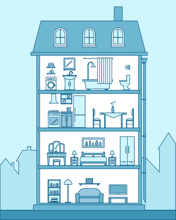 modern house interior: House in cut. Detailed modern house interior. Rooms with furniture.  Flat line style vector illustration.