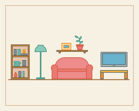 modern living room: Living room with furniture and long shadows. Flat line style vector illustration. Illustration