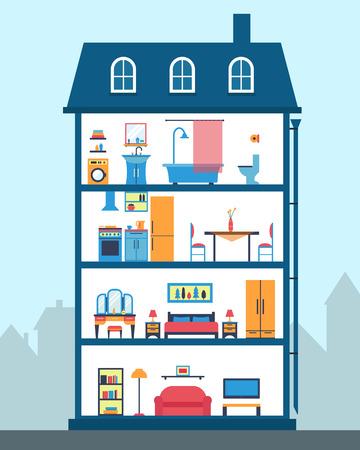 Huis in gesneden. Gedetailleerde modern interieur huis. Kamers met meubilair. Vlakke stijl vector illustratie.