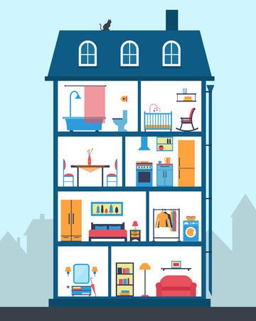 residential house: House in cut. Detailed modern house interior. Rooms with furniture.  Flat style vector illustration.