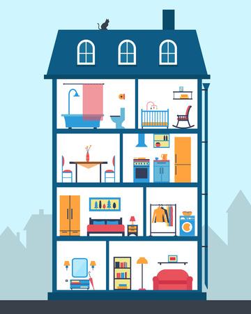 Maison en coupe. Intérieur de la maison moderne détaillée. Chambres avec mobilier. Illustration vectorielle de style plat.