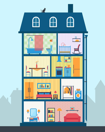 garage on house: House in cut. Detailed modern house interior. Rooms with furniture.  Flat style vector illustration.