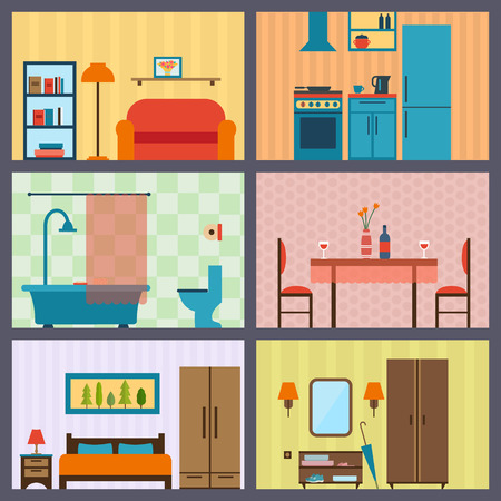 living room wall: House in cut. Detailed modern house interior. Rooms with furniture.  Flat style vector illustration.