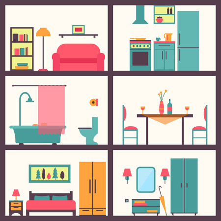 living room design: House in cut. Detailed modern house interior. Rooms with furniture.  Flat style vector illustration.