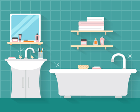 bathroom design: Bathroom with furniture and long shadows. Flat style vector illustration.
