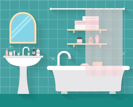 cuarto de baño: Cuarto de baño con muebles y largas sombras. Ilustración vectorial de estilo Flat. Vectores