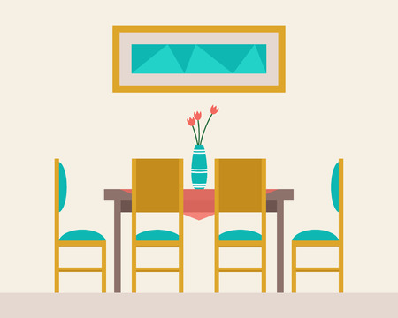 dinner date: Dining table for date with glasses of wine, flowers and chairs. Flat style vector illustration.