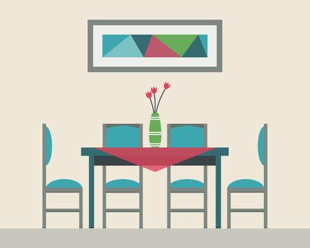mesa de comedor: Mesa de comedor para la fecha con vasos de vino, flores y sillas. Ilustraci�n vectorial de estilo Flat. Vectores