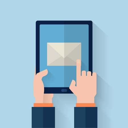 using tablet: Hand held computer gadget.  Flat style vector illustration.
