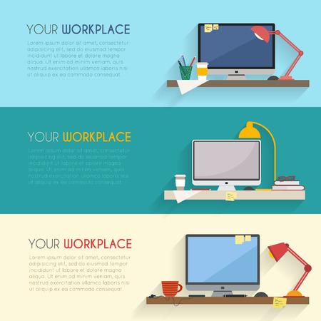 papeles oficina: Inicio del lugar de trabajo de dise�o vectorial plana. �rea de trabajo de freelance y trabajo a domicilio.