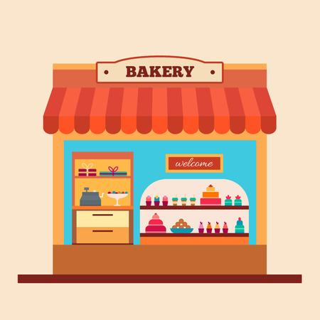 Tienda de la panadería. Cafe y el mercado. Ilustración vectorial de estilo Flat.