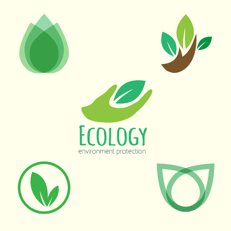 Ecology logo. Vector icon ecology set. Environment protection. Flat style vector illustration.