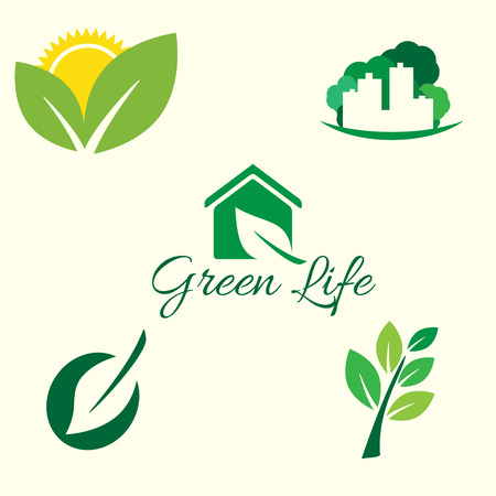 green plants: Ecology logo. Vector icon ecology set. Environment protection. Flat style vector illustration.