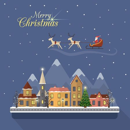 christmas village: Christmas winter city street with small houses and trees and mountains on background. Santa Claus with deers in sky above the city. Flat style vector illustration.