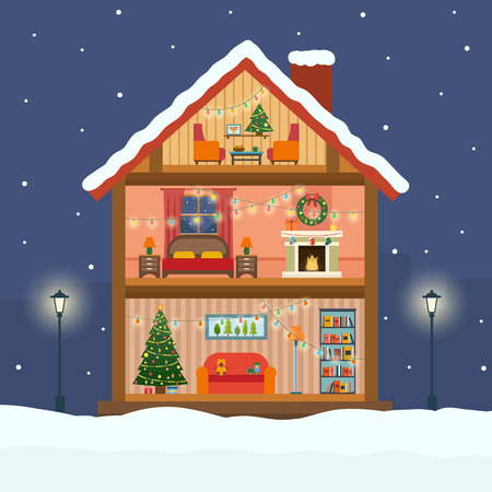 fireplace home: Christmas house in cut with snow. House interior with a furniture, fireplace, christmas tree, gifts, lights, decorations. Flat style vector illustration.