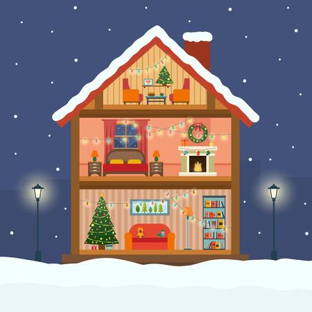 Weihnachtshaus im Schnitt mit Schnee. Hausinnenraum mit einer Sitzgruppe, Kamin, Weihnachtsbaum, Geschenke, Lichter, Dekorationen. Wohnung Stil Vektor-Illustration. Illustration