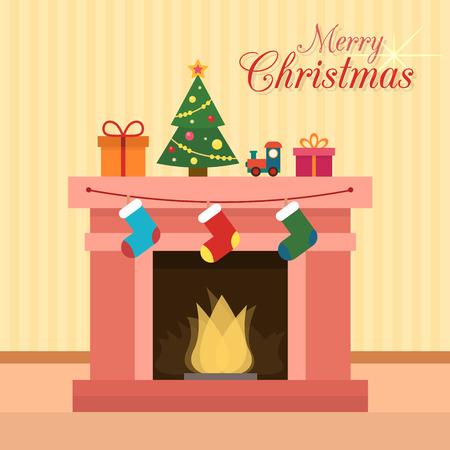 camino natale: Camino di natale con i calzini, decorazioni e albero di Natale. Appartamento stile illustrazione vettoriale.