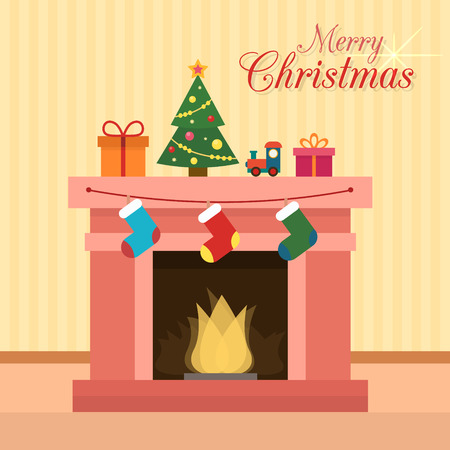 fireplace home: Christmas fireplace with socks, decorations and christmas tree. Flat style vector illustration.
